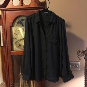 Express women's xl tall black blouse semi sheer